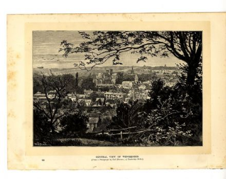 1895 WINCHESTER Hampshire ANTIQUE PRINT